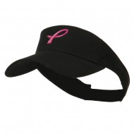 Hot Pink Ribbon Breast Cancer Logo Embroidered Visor - Black