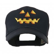 Halloween Pumpkin Face Embroidered Cap - Black
