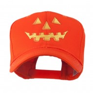 Halloween Pumpkin Face Embroidered Cap - Orange