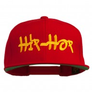 Hip Hop Music Embroidered Snapback Flat Bill Cap - Red