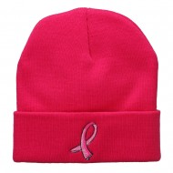 Hot Pink Breast Cancer Logo Embroidered Long Beanie - Hot Pink
