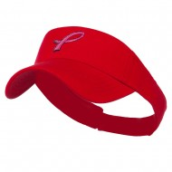 Hot Pink Ribbon Breast Cancer Logo Embroidered Visor - Red