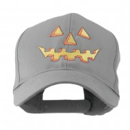 Halloween Pumpkin Face Embroidered Cap - Grey