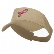Hot Pink Ribbon Breast Cancer Logo Embroidered Visor - Khaki