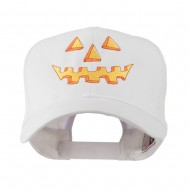 Halloween Pumpkin Face Embroidered Cap - White