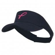Hot Pink Ribbon Breast Cancer Logo Embroidered Visor - Navy