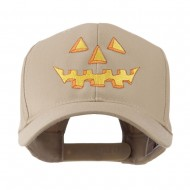 Halloween Pumpkin Face Embroidered Cap - Khaki
