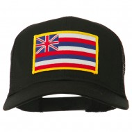 Hawaii State Patched Cotton Twill Mesh Cap - Black