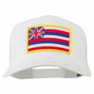 Hawaii State Patched Cotton Twill Mesh Cap - White