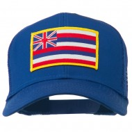 Hawaii State Patched Cotton Twill Mesh Cap - Royal