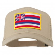 Hawaii State Patched Cotton Twill Mesh Cap - Khaki