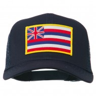 Hawaii State Patched Cotton Twill Mesh Cap - Navy