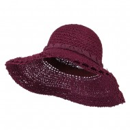 Handmade Crocheted Roll Up Hat - Berry