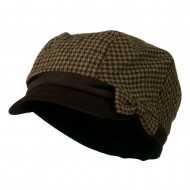 Libby Houndstooth Cabbie Cap - Brown