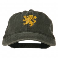 Heraldic Lion Embroidered Washed Cotton Twill Cap - Black