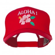 Hawaii State Flower with Aloha Embroidered Trucker Cap - Red