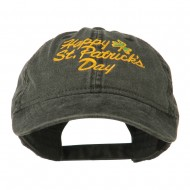 Happy St. Patrick's Day Embroidered Cap - Black