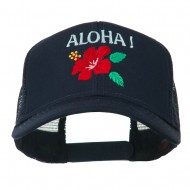 Hawaii State Flower with Aloha Embroidered Trucker Cap - Navy