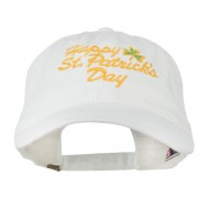 Happy St. Patrick's Day Embroidered Cap - White