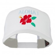 Hawaii State Flower with Aloha Embroidered Trucker Cap - White
