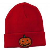Halloween Smiley Jack o Lantern Embroidered Long Beanie - Red