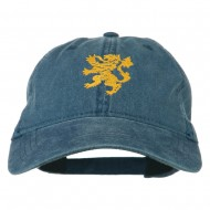 Heraldic Lion Embroidered Washed Cotton Twill Cap - Navy