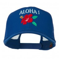 Hawaii State Flower with Aloha Embroidered Trucker Cap - Royal