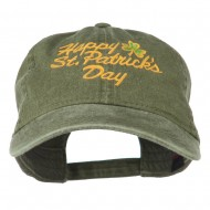 Happy St. Patrick's Day Embroidered Cap - Olive Green