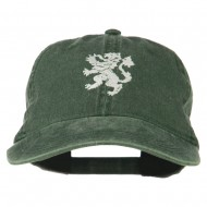 Heraldic Lion Embroidered Washed Cotton Twill Cap - Green