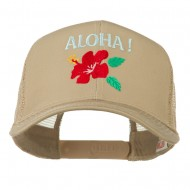 Hawaii State Flower with Aloha Embroidered Trucker Cap - Khaki