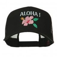 Hawaii State Flower with Aloha Embroidered Trucker Cap - Black