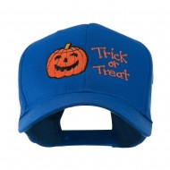 Halloween Trick or Treat Pumpkin Embroidered Cap - Royal