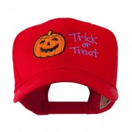 Halloween Trick or Treat Pumpkin Embroidered Cap - Red