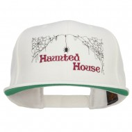 Haunted House Embroidered Snapback Cap - Natural