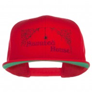 Haunted House Embroidered Snapback Cap - Red
