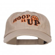 Hoop It Up Basketball Embroidered Low Cap - Khaki