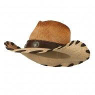 Woman's Raffia Cowboy Hat with Leatherette Band - Natural
