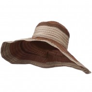 Women's Hat with Wave Design Ribbon - Brown