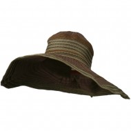 Women's Hat with Wave Design Ribbon - Chocolate