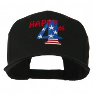 Happy 4th Embroidered Cap - Black