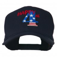 Happy 4th Embroidered Cap - Navy