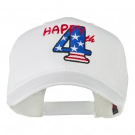 Happy 4th Embroidered Cap - White