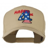 Happy 4th Embroidered Cap - Khaki
