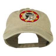 Indian Boy Embroidered Washed Cap - Khaki