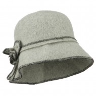 Women's Boiled Contrast Stitching Wool Bucket Hat - Heather