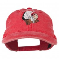 Southwest Indian Embroidered Washed Cap - Red