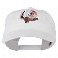 Southwest Indian Embroidered Washed Cap - White