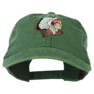 Southwest Indian Embroidered Washed Cap - Dark Green