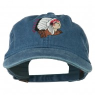 Southwest Indian Embroidered Washed Cap - Navy