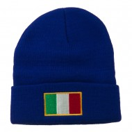 Europe Italy Flag Embroidered Long Cuff Beanie - Royal
